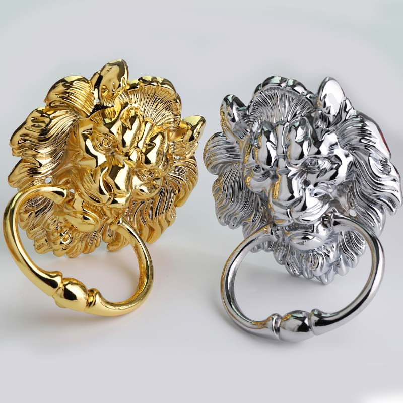 160mm Retro style bright chrome bigger Lion head drop rings wooden door pull handle silver gold wooden chair sofa handle knob