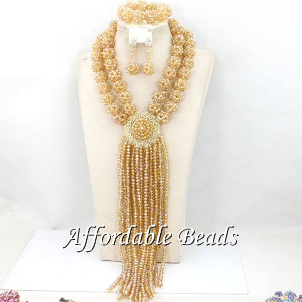 Champagne Women Costume Jewelry Set Newest Wedding African Beads Set Best Item Wholesale HEB088