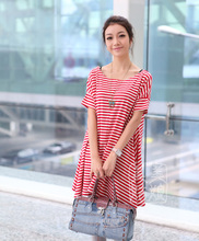 2016 new summer maternity dresses short sleeve korean maternity clothes fashion stripe pregnancy clothes casual dresses BB65