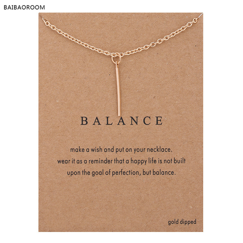 Hot Sale Sparkling Balance Vertical bar Pendant necklace gold-color Clavicle Chains Statement Necklace Women Jewelry(Has card)