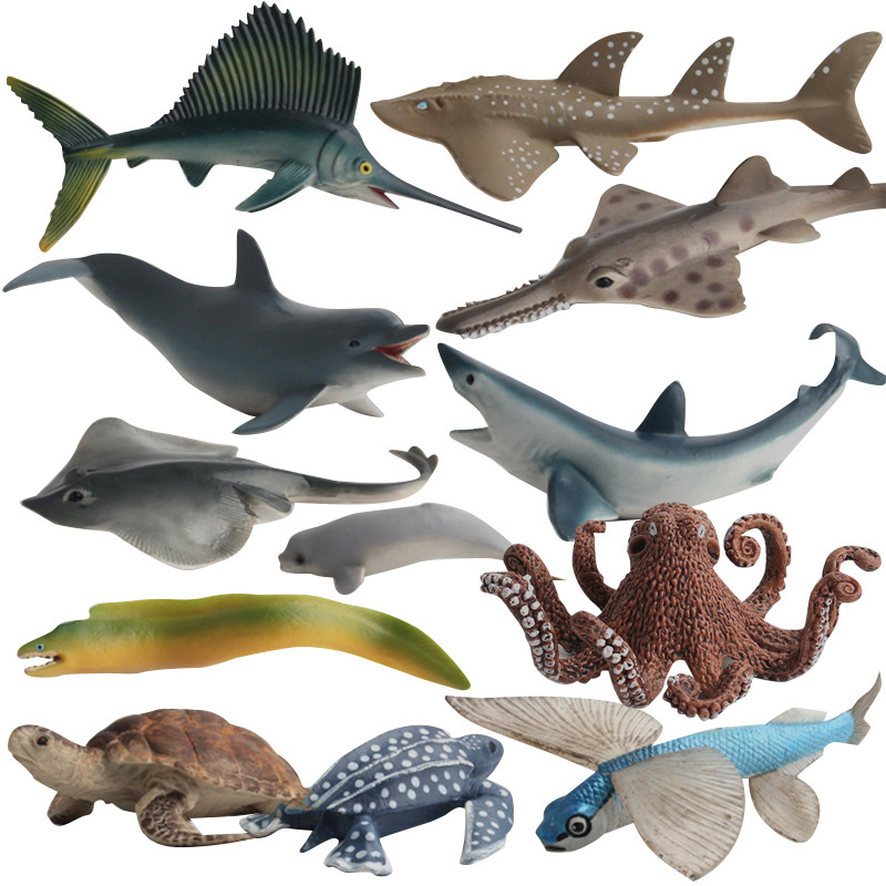 12 Kidns Simulation Shark Marine Animal Figure Collectible Toys Ocean Animal Action Figures Kids Plastic Cement Toys