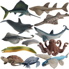 12 Kidns Simulation requin Animal marin Figure à collectionner jouets océan animaux figurines d'action enfants en plastique ciment jouets(China)