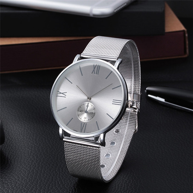 2017 Casual Silver Women Watch Crystal Stainless Steel Buckle Roman Numbers Anal