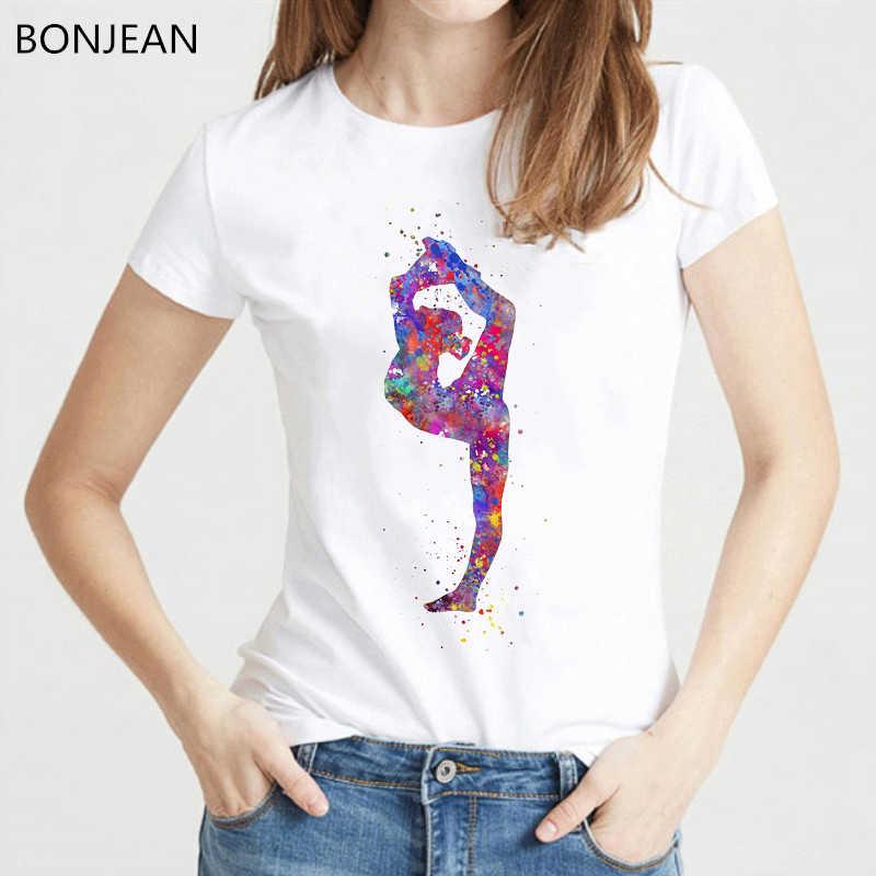 Akwarela gimnastyka dziewczyna drukowane t shirt kobiety odzież 2019 śmieszne vogue tshirt femme harajuku koszula dla kobiet