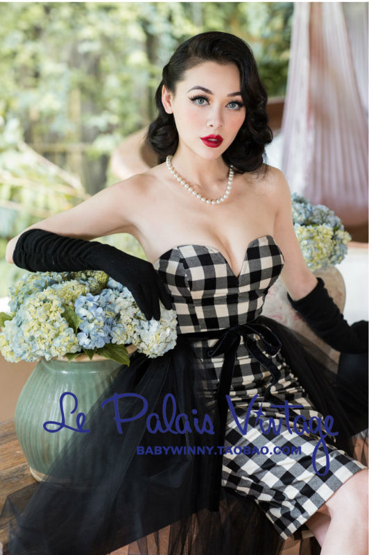 FREE SHIPPING Le Palais Vintage limited edition retro PIN UP black all match skirtball gownin