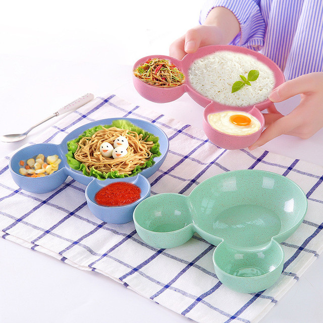 Carrywon Children Kids Cute Cartoon Mouse Bowl Dishes Baby Feeding Bowl Dinner Lunch Food Container