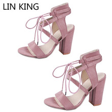 LIN KING Sexy Gladiator High Heel Women Sandals Lace Up Square Summer Party Dress Shoes Thick Sole Sandalias Plus Size 43