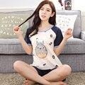 2017-Número de mangas curtas calças curtas terno sleepwear das Mulheres & padrão Totoro