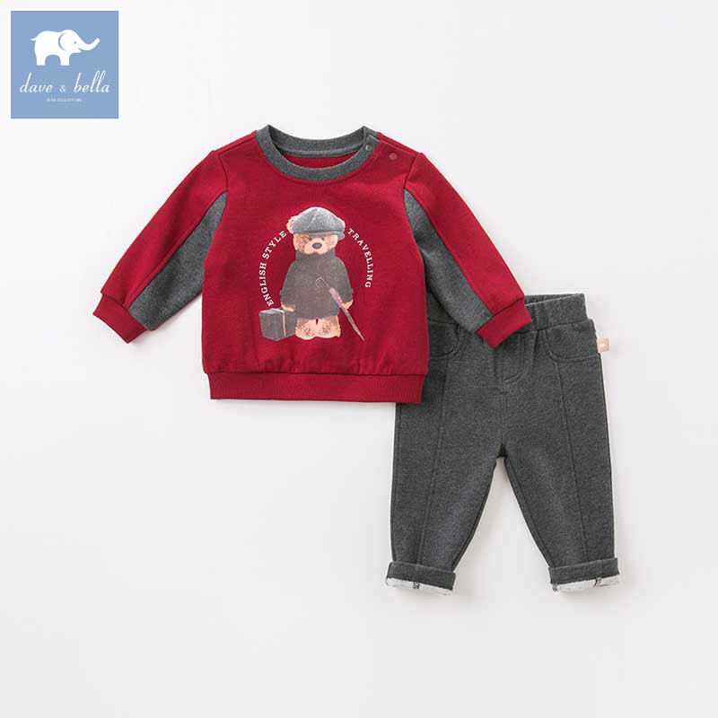 DB8547 dave bella autumn baby boys long sleeve clothing sets infant toddler top+pants 2 pcs outfits children high quality suits