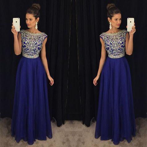 Robes de bal en cristal perlé bleu Royal longues 2019 vestidos de fiesta largos elegantes de gala une ligne robe de soirée importée