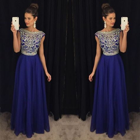 Royal Blue Beaded Crystal   Prom     Dresses   Long 2019 vestidos de fiesta largos elegantes de gala A Line Imported Party   Dress