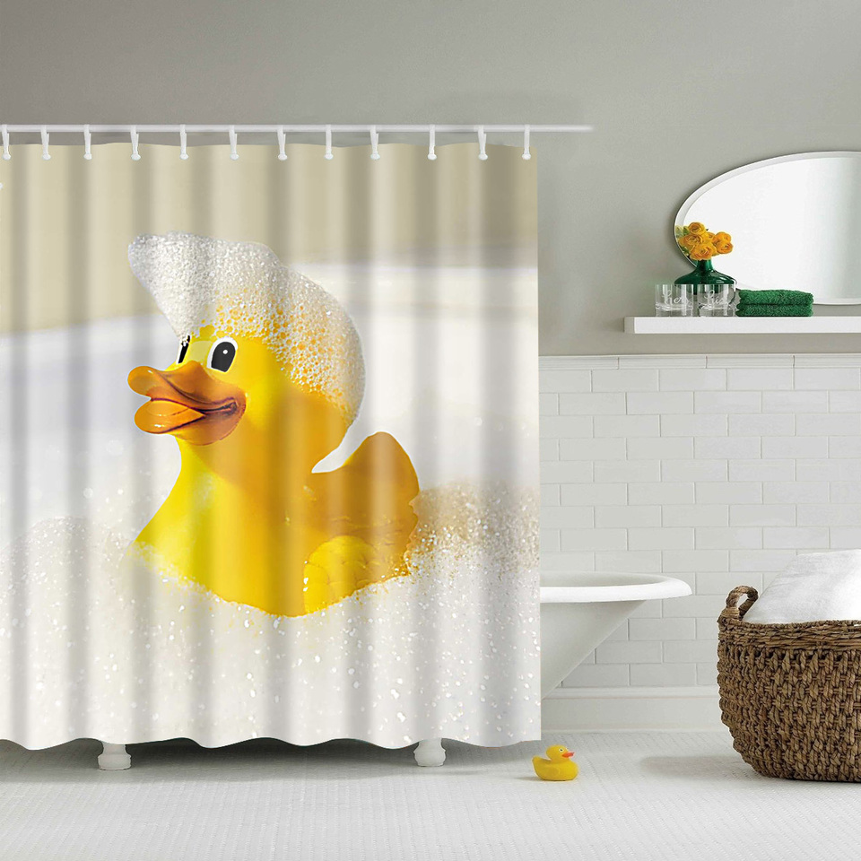 Papa&Mima Yellow Duck Printed Waterproof Shower Curtains Polyester Bathroom Curtains With Hooks 180x180cm Decorative Bathtub