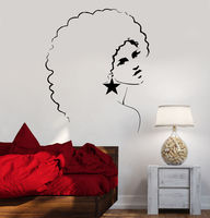 Sexy Girl Vinyl Wall Decal Sexy Disco Girl Woman Afro Hair Style Mural Wall Sticker Bar Salon Bedroom Home Decoration
