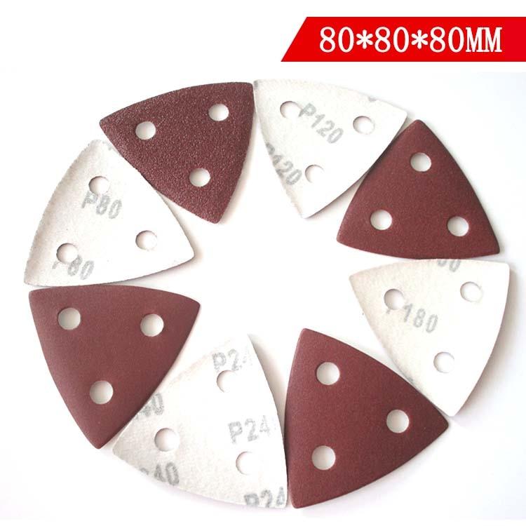 25Pcs Red Triangle 3 Holes Sandpaper 80x80x80mm Sanding Sheets 80/120/180/240/320/400 Grits For Wood Metal Polishing
