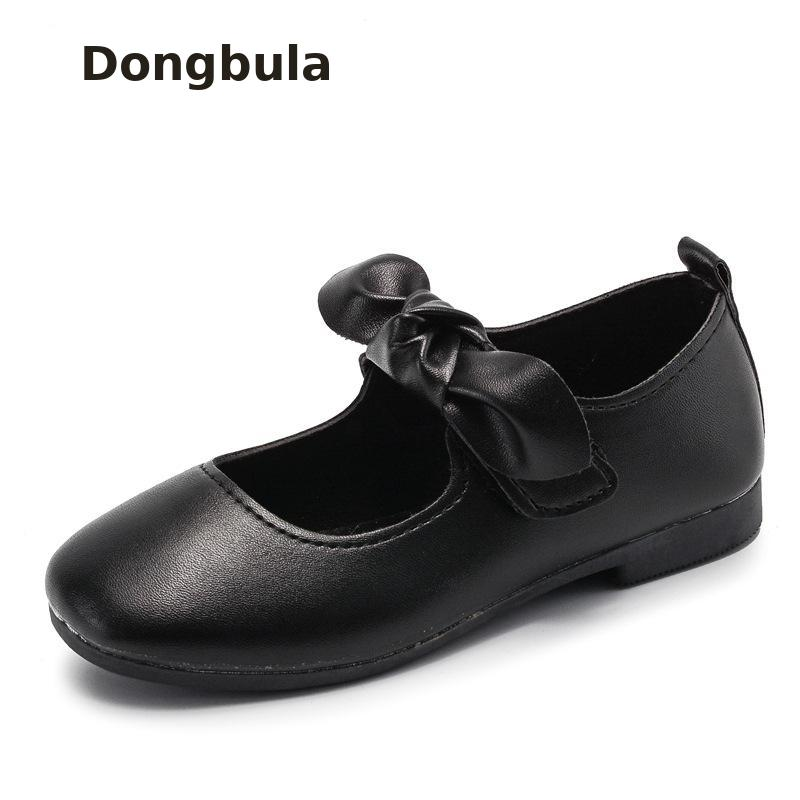 2019 Girls Princess Leather Shoes For Black Spring Kids Dress Shoes School Flat Shoes Breathable Children Student Party Dancing