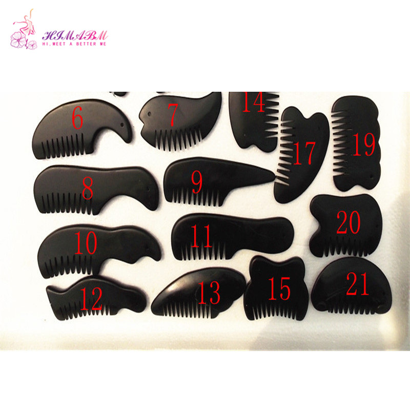 Купить с кэшбэком HIMABM 1Pack=21Pcs natural black basalt stone relax guasha board for wrinkle removal whitening face care beauty face equipment