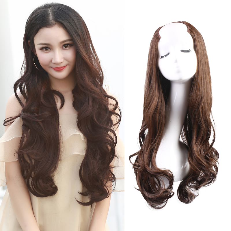 Half Head Wig Curly U Part Synthetic Invisible Clip In Hair Extension For Women Brown Natural 28'' Hairpiece 3/4 Wig W09