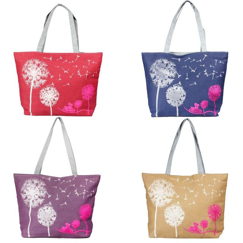 Canvas Handbag Printed Shoulder Bag Female Large Capacity Ladies Beach Bag Canvas Tote Shopping Handbags