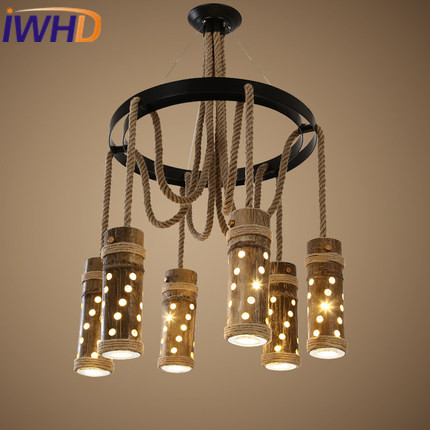 IWHD 6 Heads Bamboo Vintage Lamp LED Hanging Lights Style Loft Industrial Pendant Lamps Bedroom Living Room Lighting Fixtures