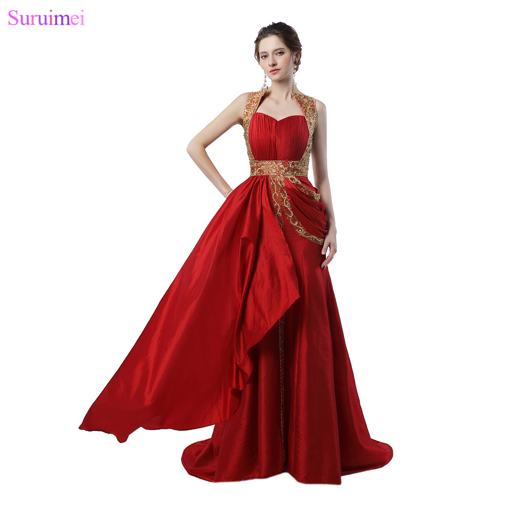 Dubai Evening Dresses Sweetheart with Short Train Red Satin Gold Embroidery Works Arabic Evening Gown Free Shipping