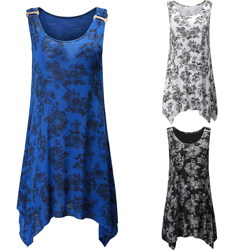 JAYCOSIN Tops tops women 2018 Flower Print top Pullover Sleeveless Tank Shirt Blouse Vest Drosphipping Jun4