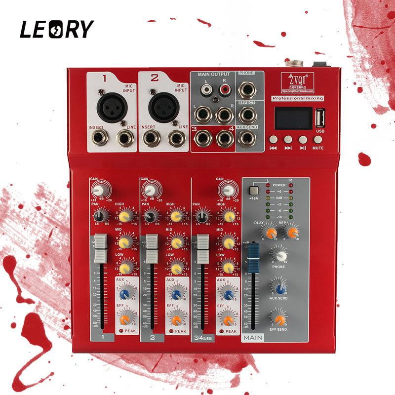 LEORY Multi-coating Piano Paint Red Digital Audio Mixer Professional Bluetooth DJ Mixer Console With USB 4 Channel For Karaoke leory mini karaoke audio mixer 4 channel microphone digital sound mixing amplifier console built in 48v phantom power with usb