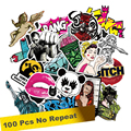 100 PCS Random music film Vinyl Skateboard Guitar Travel Case sticker Motorcycle Car decal Cute Stickers fashion funny sticker