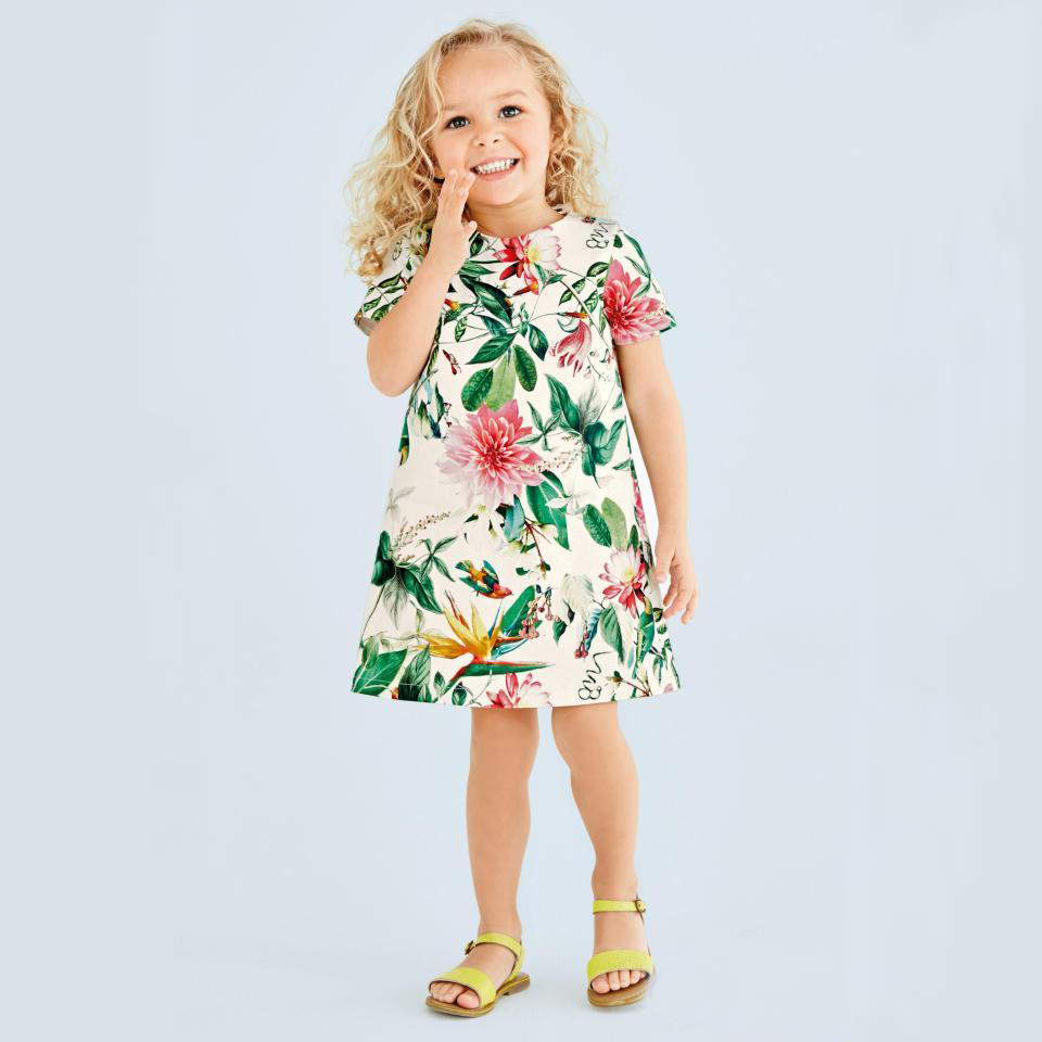 Kids Dress Robe Fille 2017 Brand Girls Summer Dresses Toddler Clothes Leaves Flower Print Princess Dress Elsa Costume Children  girls party dresses silk chiffon 2017 brand toddler dress princess costume for kids clothes flower robe enfant children dress