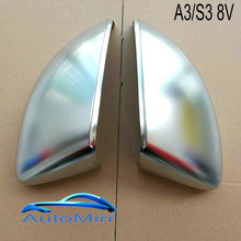 2018 A3 S3 Side Wing Mirror Cover shell fit Audi A3 8 V Zilveren Spiegel Caps Matte Chrome 2015 2016 2018 vervanging(China)