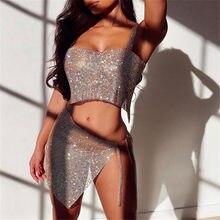 Sexy Luxus Kristall Diamante Zwei Stück Set Handgemachte Strass Patchwork Top Seite Schlitz Taille Kette Nacht Club Dame 2 Pcs outfit