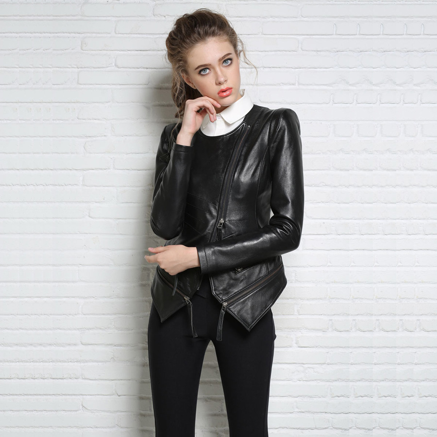80fbe59b795 2016 New Autumn and Winter Women Black Slim O neck Shrug Shoulders Oblique  Zipper Sheepskin Punk Style Genuine Leather Jacket-in Leather   Suede from  ...