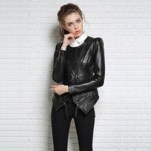 2016 New Autumn and Winter Women Black Slim O-neck Shrug Shoulders Oblique Zipper Sheepskin Punk Style Genuine Leather Jacket