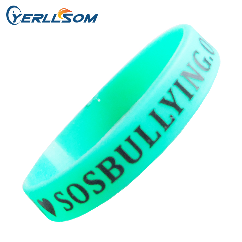 Lot Free Shipping High Quality Custom Personalized Screen  Printing Logo Rubber Wristbands Y072903
