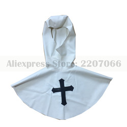 Máscara de látex de borracha cosplay enfermeira vestidos de branco com preto cruz a cara aberta capuzes capô plus size artesanal RLM198