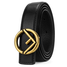 Western Gold Sliver Black Plated F Buckle Black Coffee Leather Strap Unisex Causal Pants Jeans Trousers Belt