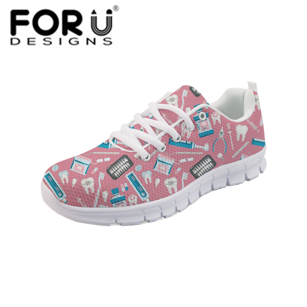 FORUDESIGNS Doctor Nurse Sneakers Shoes Women Casual Flats Fashion Women's Comfortable Breathable Mesh Shoes Flat Woman Summer forudesigns fashion women flat shoes female teens girls floral print casual flats breathable walking shoes for woman plus size