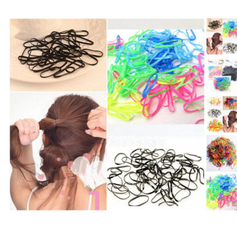 300pcs/lot Rubber Hairband Rope Ponytail Holder Elastic Hair Band Ties Braids Fast Shipping