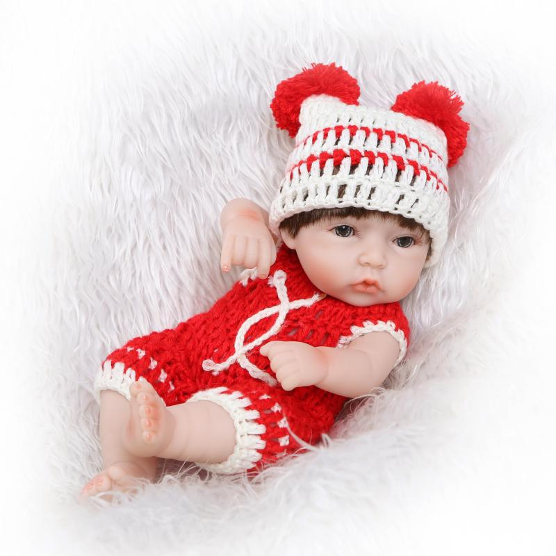 26cm Silicone Mini Reborn Dolls Red Dress Adorable Lifelike Playmate Dolls Fashion Doll Pretend Play Toys Christmas Gifts