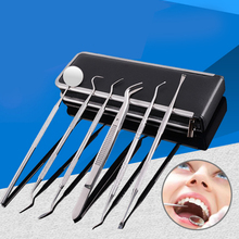 5pcs/6pcs Set Dental Tool Sets Mirror Stainless Steel Clean Mouth  Probe Tooth Care Kit Instrument Tweezer Hoe Sickle Scaler