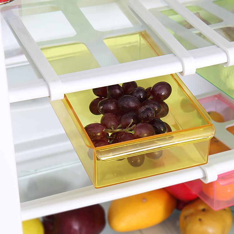 Слайд Кухня холодильник морозильник Пространство Заставка Организатора хранения полка 4 вида цветов