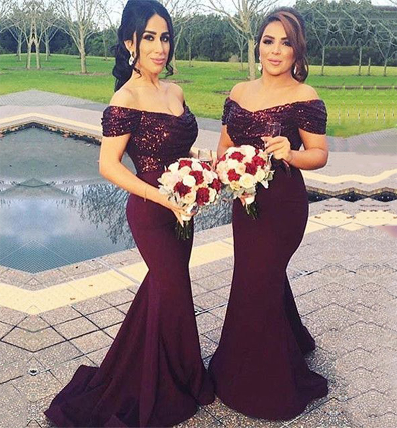 Sparkly Mermaid Burgundy Bridesmaid Dresses Long Sequin Unique Bridesmaid Dress With Sleeves