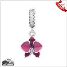 Se adapta a pandora charms pulseras de plata encanto orquídea original esmalte de los granos de plata de ley con piedras de la cz joyería al por mayor diy