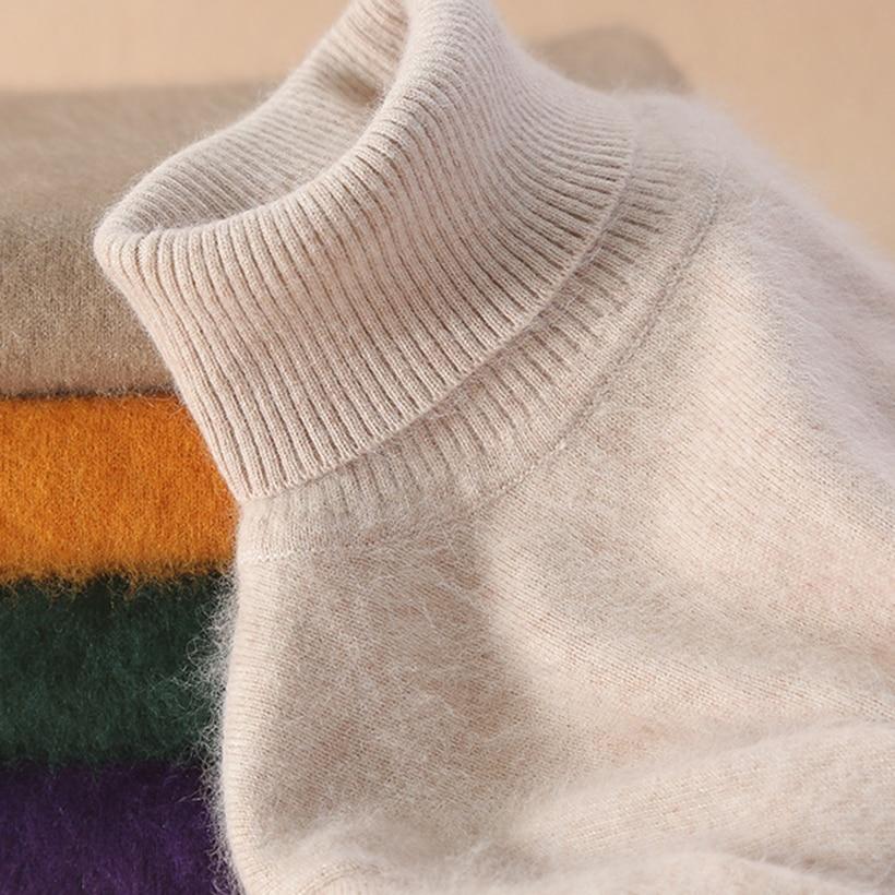 Super Warm Mink Cashmere Soft Fur Fleece Turtleneck Sweaters And Pullovers For Women Autumn Winter Jumper Female Brand Jumper
