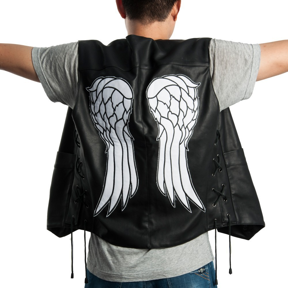 Halloween The Walking Dead Daryl Dixon PU Leather Vest Angel Wings Jacket Motorcycle Biker Vest Cosplay Costume image