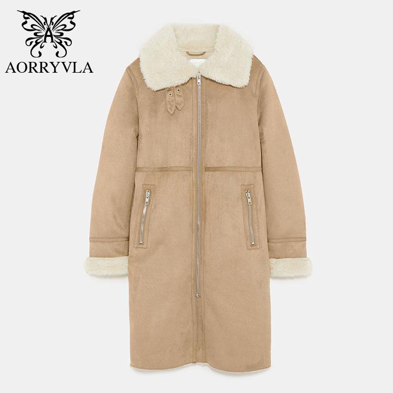 AORRYVLA 2018 New Winter Fashion Women Faux   Suede   Jacket Long Coat Full Sleeve Turn-Down Collar Zipper Warm Casual Jacket