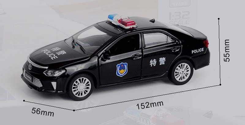 1:32 Camry Polisi Diecast Mainan Model Mobil Mainan Mobil Tarik Kembali Suara Mobil Hadiah Mainan untuk Anak Anak