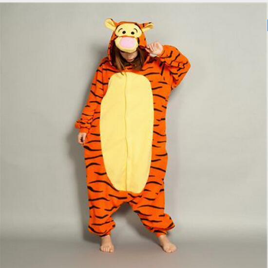 Adult Tigger Onesie Winter Warm Cute Animal Hooded Pajamas Unisex One piece Onesie Lovely Tiger Sleepsuit Cosplay Sleepwear