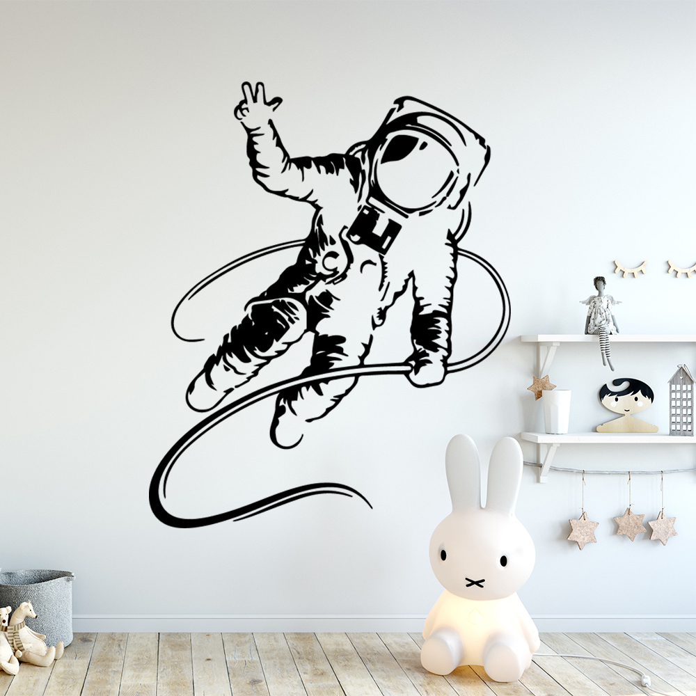 Colorful Astronaut Decal Vinyl Mural Poster Decals For Baby Kids Room Wall Stickers Bedroom Wall Decal Mural Adesivo De Parede