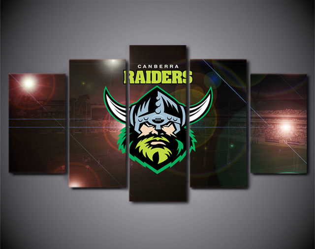 Online shop hd printed 5piece home decor canvas art nrl logo team hd printed 5piece home decor canvas art nrl logo team raiders rugby painting prints poster cartoon wall pictures for living room voltagebd Choice Image