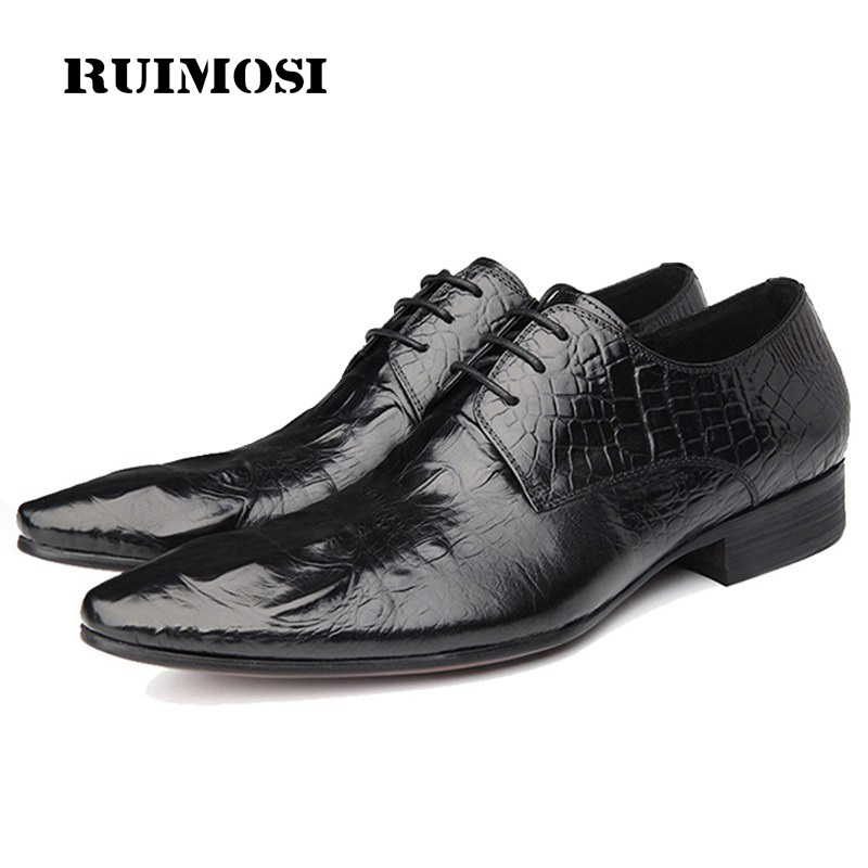 RUIMOSI Luxury Pointed Italian Man Formal Derby Shoes Genuine Leather Crocodile Oxfords Brand Men's Bridal Wedding Flats GD25